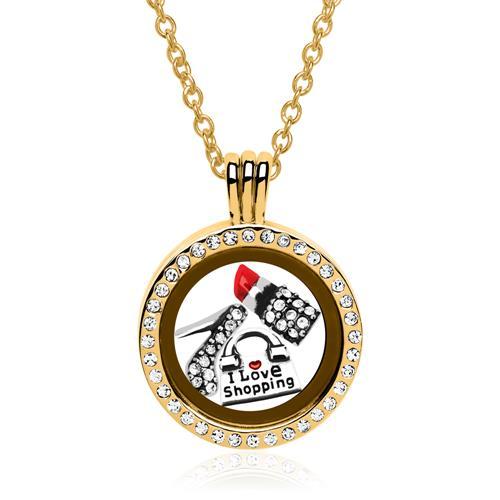 Set Medaillon Charms Sterlingsilber vergoldet
