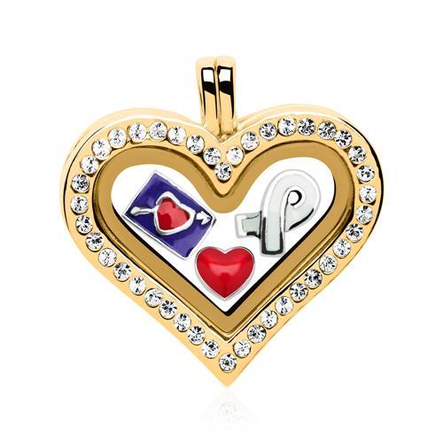 Set Herz Medaillon Charms 925er Silber gold FSS...