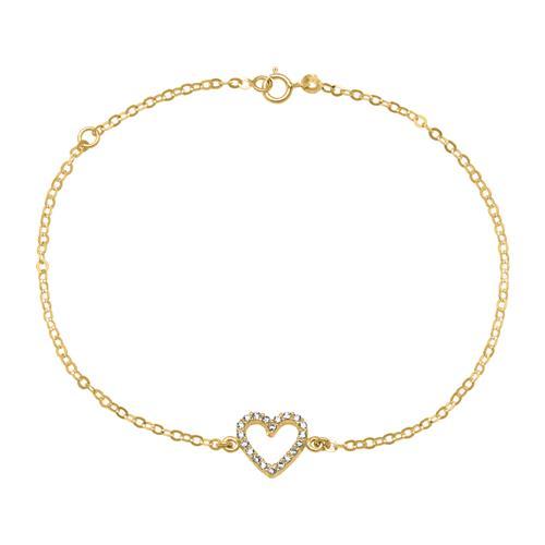 Armbaender für Frauen - Damenarmband Herz aus 585er Gold mit Zirkonia  - Onlineshop The Jeweller