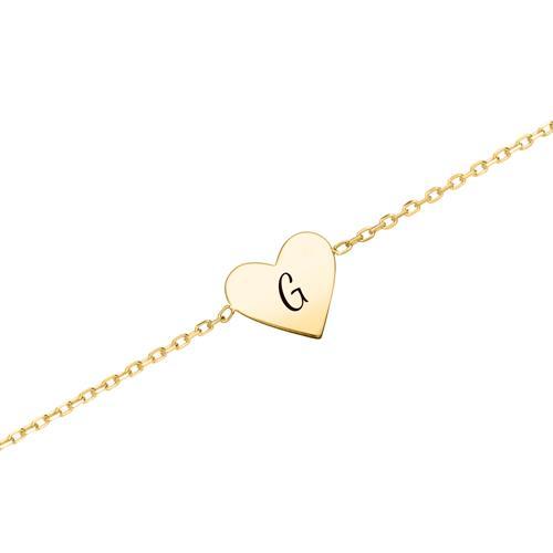 Herzarmband für Damen aus 375er Gold, gravierbar