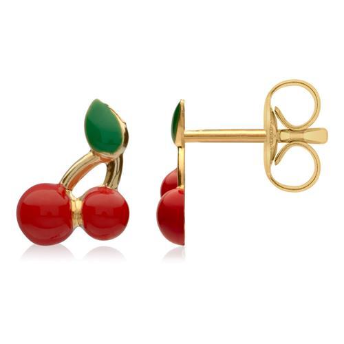 Kirschen rot grün Ohrstecker aus 375er Gold