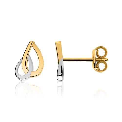 Tropfenförmige Ohrstecker 8K Gold bicolor