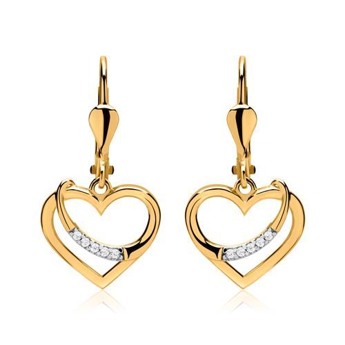 Ohrringe - 333er Goldohrringe Herzen mit Zirkonia  - Onlineshop The Jeweller