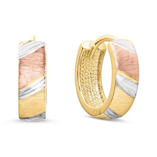 Creolen für Damen aus 375er Gold, tricolor