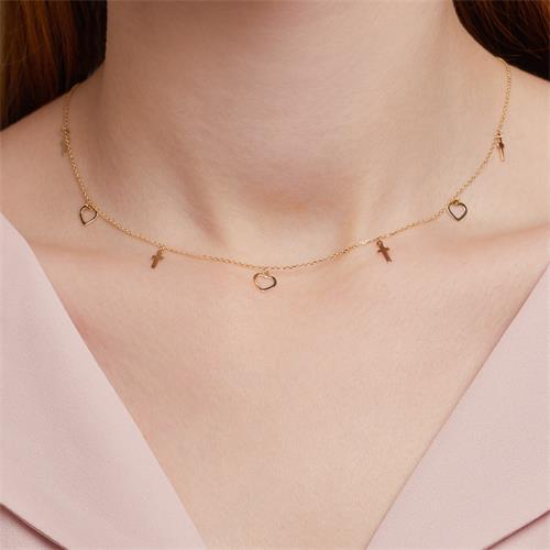 9K Goldkette Herzen und Kreuze für Damen