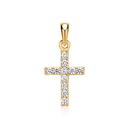 333er Gelbgold Kreuzanhänger mit Zirkonia