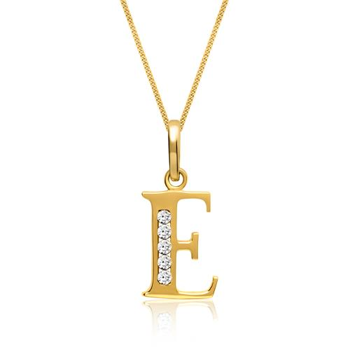 333er Gold Buchstabenanhänger E mit Zirkonia