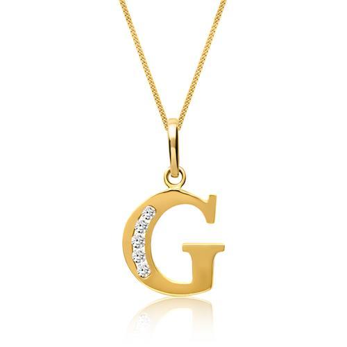 333er Gold Buchstabenanhänger G mit Zirkonia