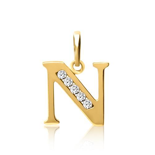333er Gold Buchstabenanhänger N mit Zirkonia