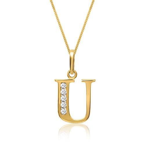 333er Gold Buchstabenanhänger U mit Zirkonia