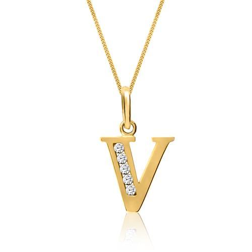 333er Gold Buchstabenanhänger V mit Zirkonia