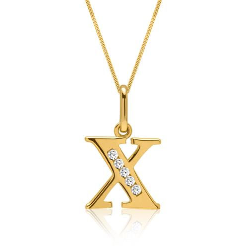 333er Goldkette Buchstabe X mit Zirkonia