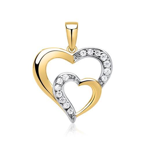 Goldkette  Goldkette mit steinbesetztem Herz-Anhänger GP0186SLK