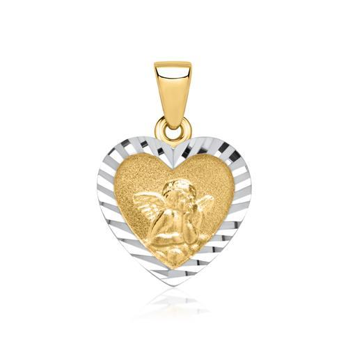 Herzanhänger mit Engelsmotiv 333er Gold