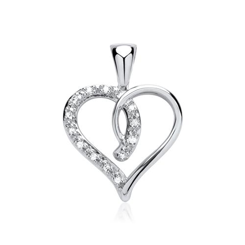 Anhänger im Herzdesign 585 Weißgold Diamanten