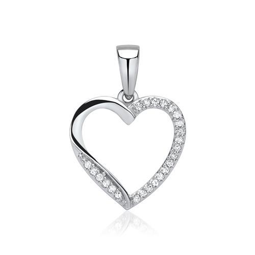 Kette mit Herzanhänger Weißgold 585 Diamanten