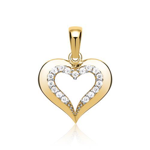 333er Gold Herz Anhänger Zirkoniabesatz