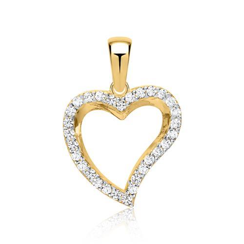 Zirkoniabesetzter Herz Anhänger 333er Gold