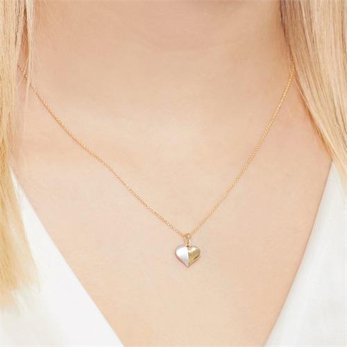 Zweifarbige Herzkette aus 333er Gold