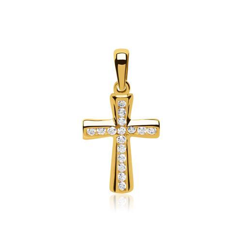 Kreuzkette 333er Gold Zirkonia