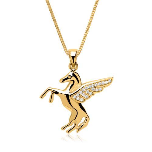 Anhänger geflügeltes Pferd aus 333er Gold mit Zirkonia