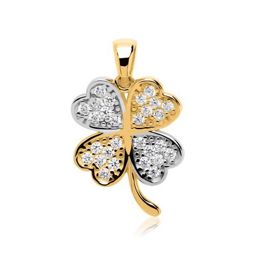 Kette Kleeblatt aus 333er Gold mit weißen Zirkonia