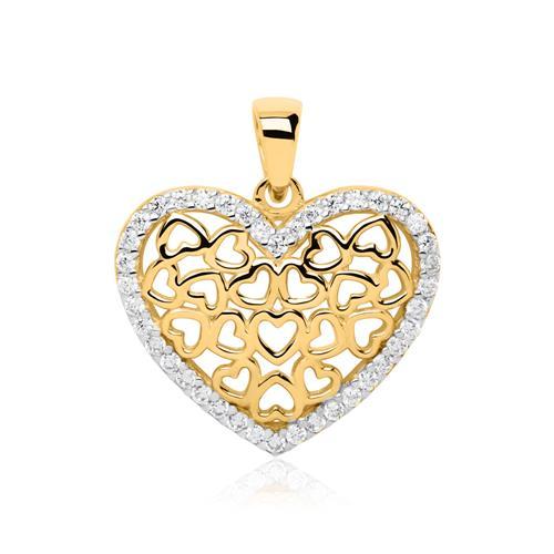 Herzanhänger aus 8K Gold mit Zirkonia