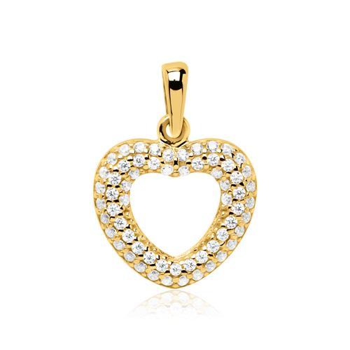 Kette und 8K Goldanhänger Herz mit weißen Zirkonia