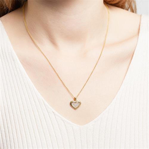 333er Goldanhänger Herz mit weißen Zirkonia