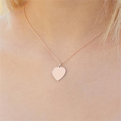Gravierbare Herzkette aus 585er Roségold