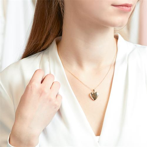 585er Gold Kette mit Medaillon Herz gravierbar