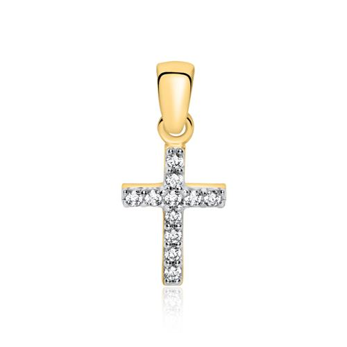Anhänger Kreuz aus 375er Gold mit Zirkonia