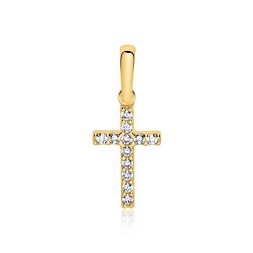 9-karätiger Gold Anhänger Kreuz mit Zirkonia