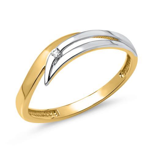 333er Goldring: Gelb- Weißgold mit Zirkonia