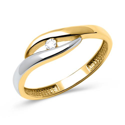 Ringe - Goldring in 333er Gelb Weißgold mit Zirkonia  - Onlineshop The Jeweller
