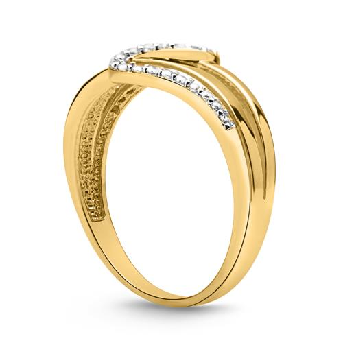 Schicker Ring Gold 333er Wellenform Zirkonia