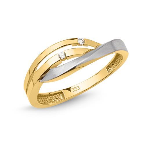 Edler Ring 333er Gold geschwungen bicolor