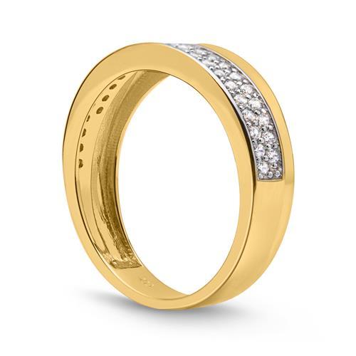 Ring 333er Gold mehrfach Zirkonia bicolor