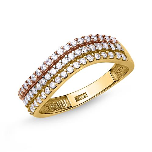 Schicker Ring 333er Gold dreireihig mit Zirkonia