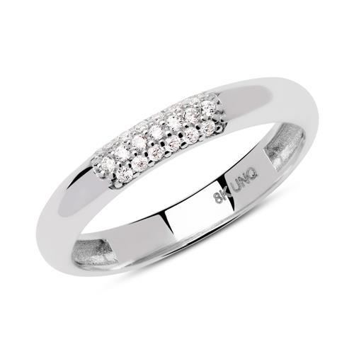 8 Karat Weißgold Ring mit Zirkoniabesatz GR0163