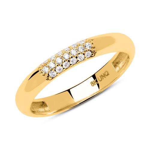 Konvexer Ring aus 333er Gold mit Zirkonia GR0164