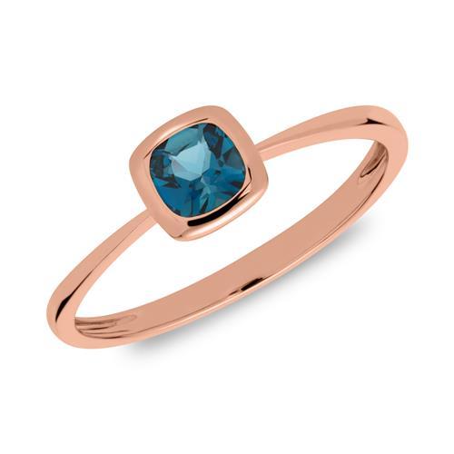585er Roségold Ring mit Blautopas