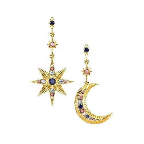 Ohrstecker Stern und Mond aus vergoldetem 925er Silber