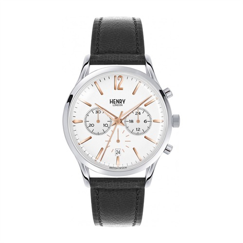 Henry London Highgate Chronograph Leder silber HL41-CS-0011