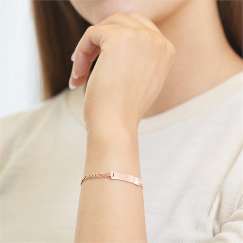 Figaro Armband mit Gravurplatte rosé