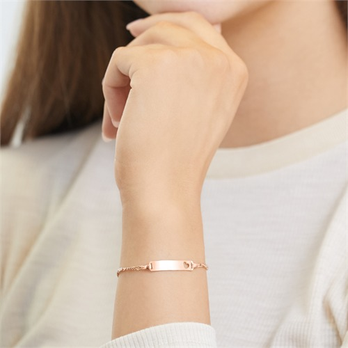 Sterling Silver Bracelet Rose Gold Heart Engraving