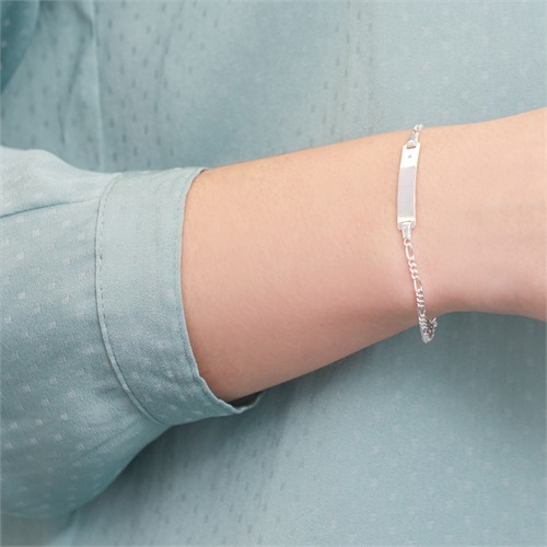 ID-Armband Sterlingsilber Diamant