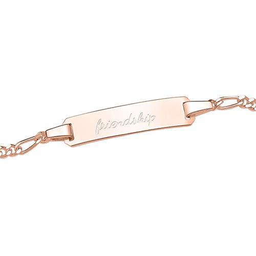Silberarmband in Rosé mit gravierbarer Platte
