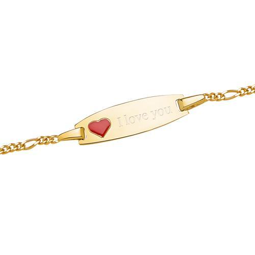 375er Gelbgold Armband mit rotem Herz