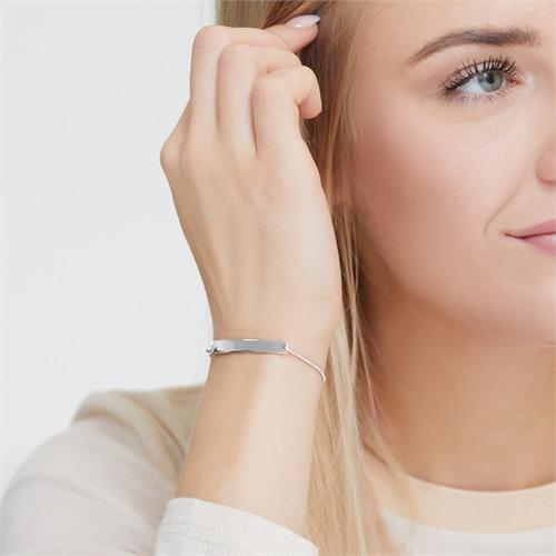 925er Silber-Armband mit gravierbarer Platte